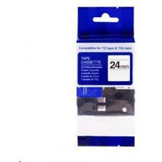 PrintLine kompatibilní páska s Brother TZE-FX651,24mm x 8m,černý tisk / žlutý podklad, flexibilní