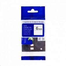 PrintLine kompatibilní páska s Brother TZE-FX211, 6mm x 8m, černý tisk / bílý podklad, flexibilní