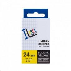 PrintLine kompatibilní páska  s Casio XR-24YW1 24mm, 8m, černý tisk/žlutý podklad