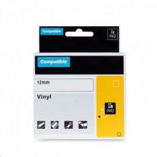 PrintLine kompatibilní páska s DYMO 18444, 12mm, 5.5m, černý tisk/bílý p., RHINO, vinyl.