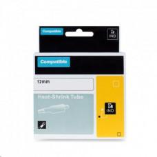PrintLine kompatibilní páska s DYMO 18055, 12mm,1.5m,černý tisk/bílý p., RHINO, bužírka