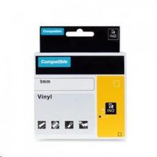 PrintLine kompatibilní páska s DYMO 18488, 12mm, 3.5m, černý tisk/bílý p., RHINO nyl.flexi