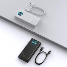 Baseus Amblight powerbanka s digitálním displejem QC 30000mAh a kabel USB-C do USB-C 100W 1m, černá