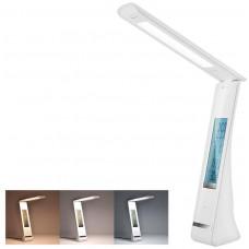 Solight LED stolní lampička nabíjecí, 5W, display, změna chromatičnosti, USB, bílá