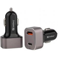 Sandberg USB nabíječka do auta, 1x QC3.0 + 1x USB-C 20W, černá