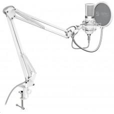SilentiumPC SPC Gear mikrofon SM950 Onyx White / drátový / streamovací / pop filtr / držák proti
