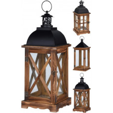lucerna na svíčku 41x16cm sklo+kov+dřevo HN/ČER mix