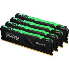 Kingston 128GB 2666MHz DDR4 CL16 DIMM (Kit of 4) FURY Beast RGB