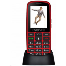 Evolveo EasyPhone EG, mobilní telefon pro seniory s nabíjecím stojánkem (červená barva)