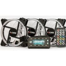 1stCool Fan KIT AURA RAINBOW, 3x ARGB fan+řadič+dálk.ovladač+3-pin kabel do MB