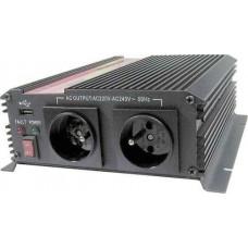 CARSPA Měnič napětí Carspa CAR1KU-12 12V/230V+USB 1000W, modifikovaná sinus