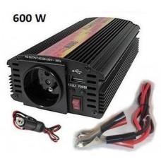 CARSPA Měnič napětí Carspa CAR600U-242 24V/230V+USB 600W, modifikovaná sinus