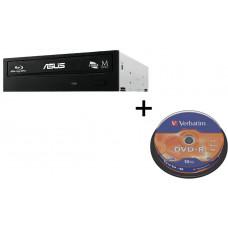 ASUS BUNDLE ASUS BW-16D1HT BLACK interní BD-RW bulk + Verbatim DVD-R 10cake