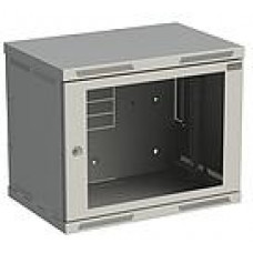 SOLARIX Rozvaděč nástěnný SENSA 9U 400mm, dveře sklo, RAL 7035, SENSA-9U-64-11-G