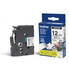 BROTHER TZE-231,  bílá/černá, 12mm