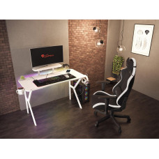 GENESIS herní stůl Holm 320, RGB podsvícení, bílý, 120x60cm, 3xUSB 3.0, bezdrátová nabíječka