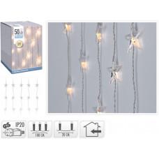 osvětlení vánoční  0,9x2m 50LED ZÁVĚS, HVĚZDY