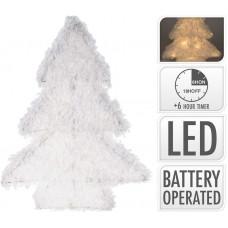 osvětlení vánoční STROM  40cm 25LED BÍ, se sněhem, s časovačem