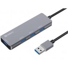 Sandberg USB-A HUB, 1x USB 3.0 a 3x USB 2.0, stříbrný