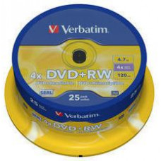 VERBATIM DVD+RW (4x, 4,7GB), 25 cake