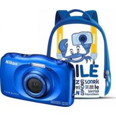 NIKON Coolpix W100 modrý, 13,2MPx,3xOZ,FHD Video + Batoh