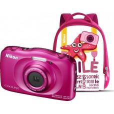 NIKON Coolpix W100 růžový, 13,2MPx,3xOZ,FHD Video + Batoh