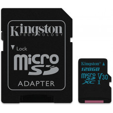 KINGSTON 128GB microSDXC Kingston Canvas Go UHS-I U3 V30 90R/45W + SD adaptér