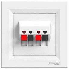Schneider Electric Asfora - Dvojnásobná reproduktorová zásuvka - bílá