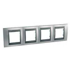 Schneider Electric Top rámeček 4-násobný Cromo mat/Grafit