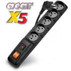 ACAR Rozvodný panel ACAR X5/3m 5x220V černý+přep.ochr.