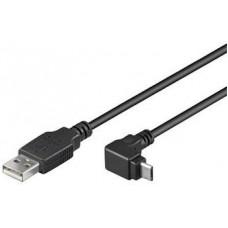 PREMIUMCORD Kabel micro USB 2.0, A-B, 90°, 1m