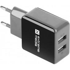 NATEC Universální nabíječka Natec 5V/2,1A, 2x USB, černo-šedá