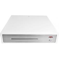 VIRTUOS Pokladní zásuvka C430C - s kabelem, kovové držáky, nerez panel, 9-24V, bílá