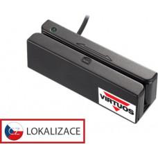 VIRTUOS Třístopá čtečka magnetických karet MSR-100A, USB (emulace klávesnice), černá