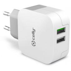 CELLY Cestovní nabíječ CELLY TURBO s 2 x USB, 3,4A, bílá