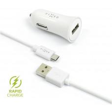 FIXED Autonabíječka FIXED, micro USB, 2,4A, bílá