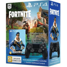 SONY PLAYSTATION PS4 - DualShock 4 Controller BLACK v2 + Fortnite 500 V Bucks