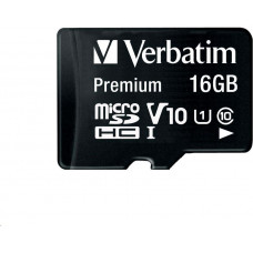 Verbatim MicroSDHC karta 16GB Premium, U1 + SD adaptér