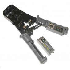 LYNX CS Kleště PROFI+ s ráčnou pro konektory RJ11, RJ12, RJ45 s testerem a LED indikací