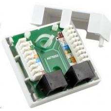 LYNX CS Zásuvka UTP 2x RJ45 Cat5E, duální svorkovnice, na omítku