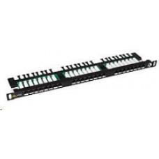 Solarix Patch panel 24xRJ45 CAT5E UTP s vyvazovací lištou černý 0,5U SX24HD-5E-UTP-BK