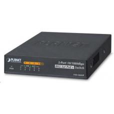 Planet FSD-504HPv2, Switch, PoE 5x 10/100, 4x 802.3at <60W, extend mód 10Mb/s do 250m, externí DC