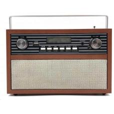 Luvianta designové retro rádio s USB, LCD displej, 2 pásmové repro, dřevěné provedení