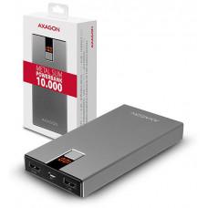 AXAGON PWB-L10, ALU SLIM Powerbanka Li-Pol 10000mAh, 2x 5V/2.4A+1A výstup, LCD displej
