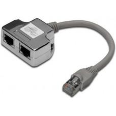 CABLE ROZDVOJKA UTP RJ45, 2xF-1xM, Y, kat.5e, telefon+síť, kabel 10cm (ISDN splitter T-MOD adapter)