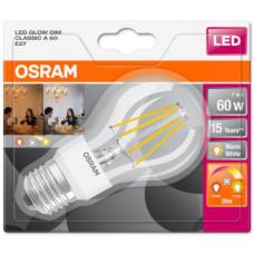 LEDVANCE OSRAM LED Filament STAR+ ClasA  230V 7W 827 E27 GlowDIM A++ Sklo čiré 806lm 2700-2200K