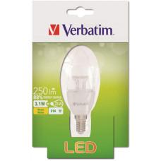 Verbatim LED žárovka Verbatim, E14 3,1W 250lm (25W), typ B, čirá, teplá bílá