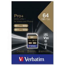 Verbatim SDXC 64GB paměťová karta PRO+ UHS-I (U3) (90MB/s), Class 10