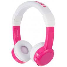 Buddyphones Inflight - dětská drátová sluchátka s adaptérem do letadla, růžová