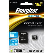Energizer SDHC 16GB High Tech micro paměťová karta UHS-I (U1) (80MB/s), Class 10 + adapter, černá